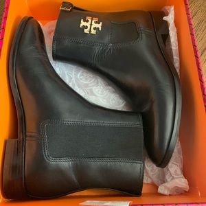 Tory Burch Wyatt mid calf leather bootie black 8